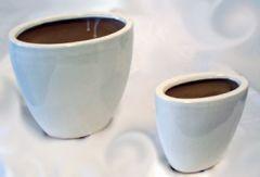 Vaso ovale in ceramica bianco-panna